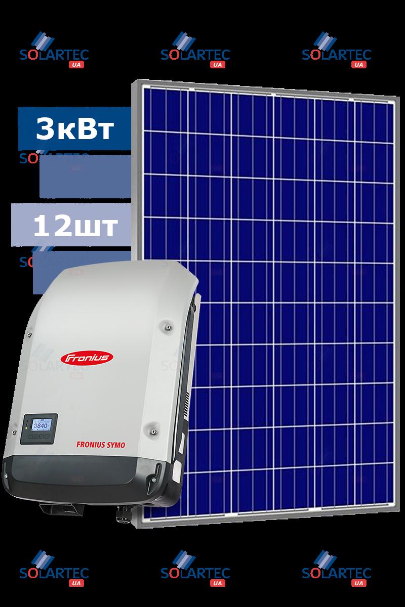 Сетевая CЭС 3 кВт на базе инвертора Fronius, 1 MMPT